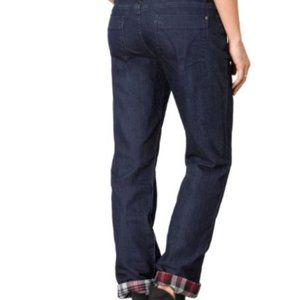 Prana NWOT Flannel Plaid Lined Boyfriend Jean - Indigo Size 0 / 25